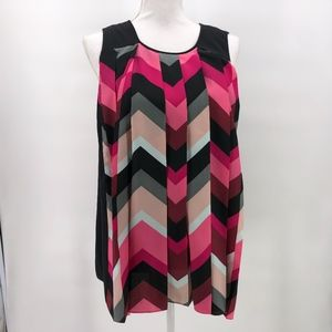 Vince Camuto Pink Black Geometric Top XL